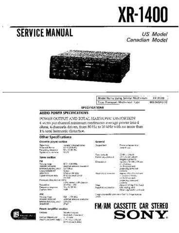 Sony XR-1400 Service Manual by download Mauritron #233495
