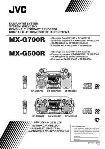 JVC MX-G500R.. Service Manual Schematic Circuit. by download Mauritron #271918