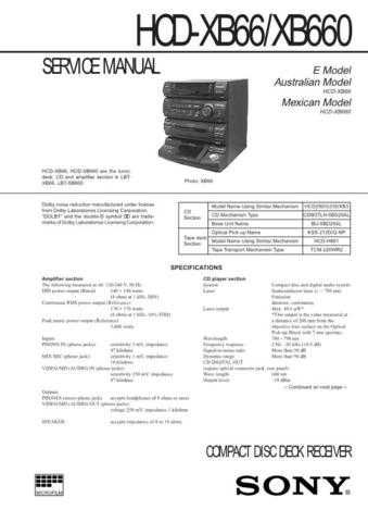 SONY HST-SE581 Technical by download #104982