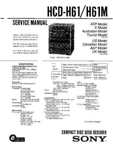 Sony HCD-H61M Manual by download Mauritron #229216