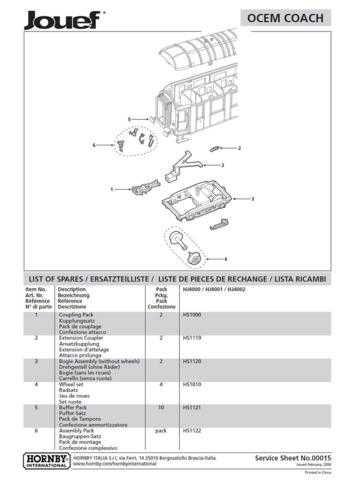 Jouef No.00015 Ocem Coach Service Sheets by download Mauritron #206151