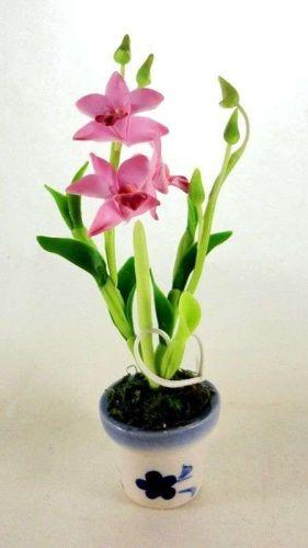 DOLLHOUSE MINIATURE LIGHT PINK ORCHID FLOWERS CLAY CERAMIC POT HOME DECOR GARDEN