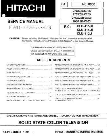 Hitachi 27CX6B Service Manual Schematics by download Mauritron #205719
