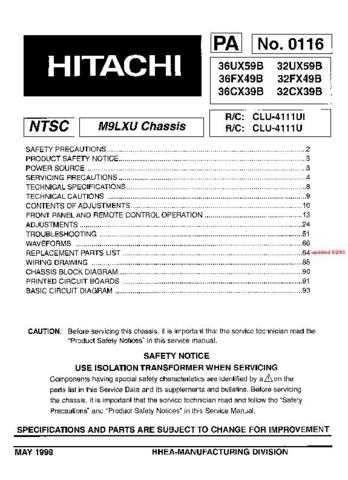 Hitachi 32CX39B Service Manual Schematics by download Mauritron #205755