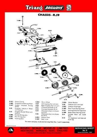 Triang Tri-ang No.009 Chassis R59 Service Sheets by download Mauritron #206204