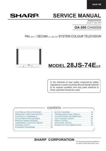 Sharp 28JS74E Service Manual by download Mauritron #207552