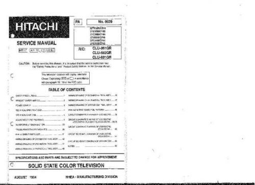 Hitachi 27CX3B Service Manual Schematics by download Mauritron #205716