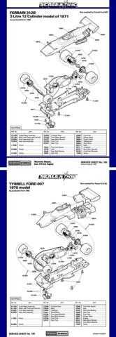 Scalextrix No.165 Ferrari 312B and Tyrrell Ford 007 Service Sheets by download