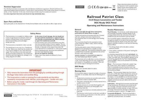 Hornby 4-6-0 Railroad Patriot Class Maintenance Sheets by download Mauritron #2