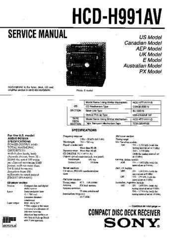 Sony HCD-H900 Service Manual by download Mauritron #241187