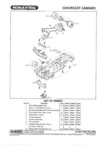 Scalextrix No.334B Chevrolet Camaro Service Sheets by download Mauritron #20642