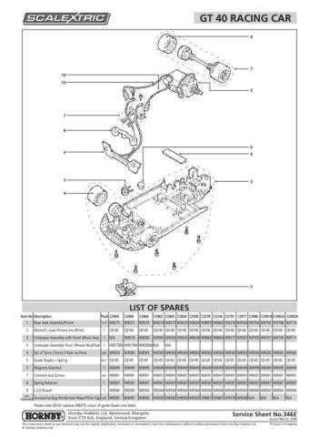 Scalextrix No.346F GT40 Racing Car Service Sheets by download Mauritron #206462