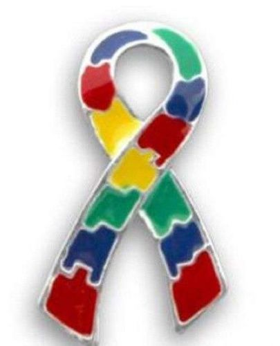 Autism Awareness Puzzle Piece Ribbon Pin