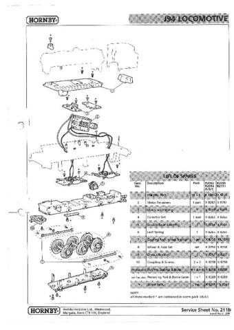 Hornby No.211B J94 Loco Service Sheets by download Mauritron #206908