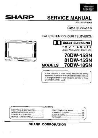 Sharp 70-81DW15SN-18SN (1) Service Manual by download Mauritron #207902