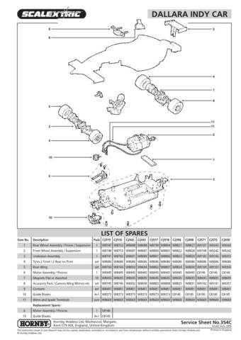 Scalextrix No.354C Dallara Indy Car Service Sheets by download Mauritron #20647