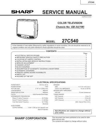 Sharp 27C540 Service Manual by download Mauritron #207504
