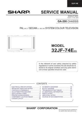 Sharp 32JF74E (1) Service Manual by download Mauritron #207646
