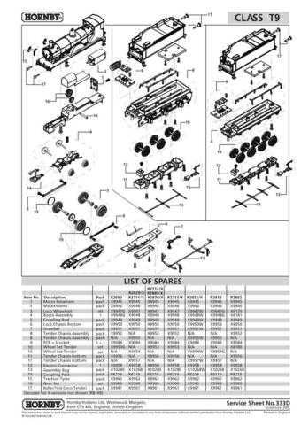 Hornby No.333D Class T9 Service Sheets by download Mauritron #207123