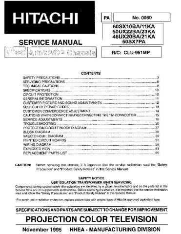 Hitachi 50SX7PA Service Manual Schematics by download Mauritron #205834