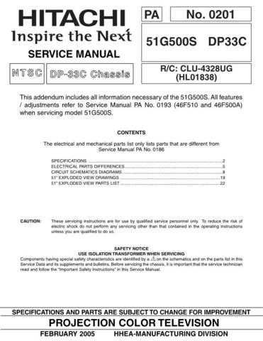 Hitachi 51G500S Service Manual Schematics by download Mauritron #205863