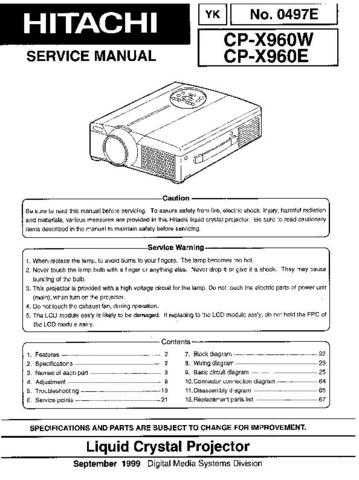 Hitachi CPX960W Service Manual Schematics by download Mauritron #205931