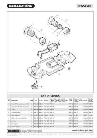 Scalextrix No.331D Nascar Service Sheets by download Mauritron #206417