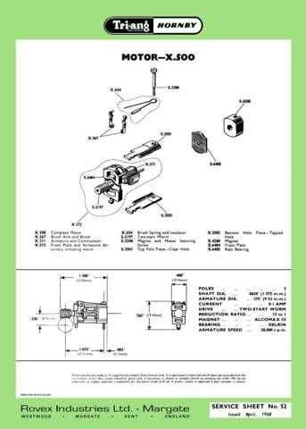 Triang Tri-ang No.052 Motor X500 Service Sheets by download Mauritron #206253