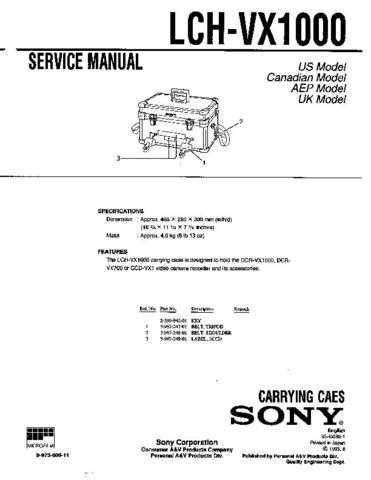 Sony LCH-VX1000 Service Manual by download Mauritron #241803