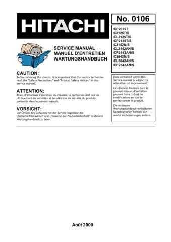 Hitachi CP2142AN In French Service Manual by download Mauritron #230655