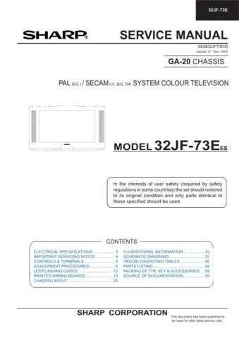 Sharp 32JF73E-EES SM 00VERS GB(1) Service Manual by download Mauritron #207642