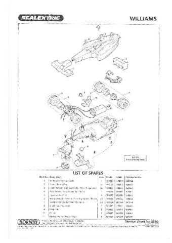 Scalextrix No.359B Williams F1 Service Sheets by download Mauritron #206482