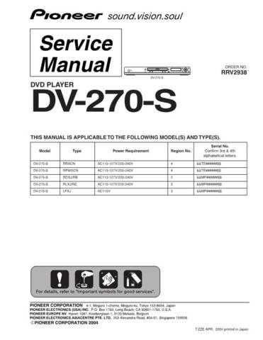Pioneer dv-270-s-7 Service Manual by download Mauritron #234040