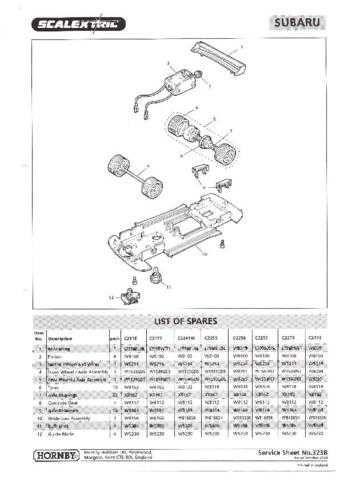 Scalextrix No.323B Subaru Service Sheets by download Mauritron #206400