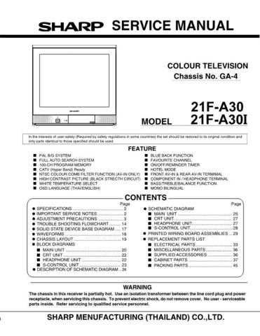 Sharp 21F-A30 GA4 Chassis by download Mauritron #232595