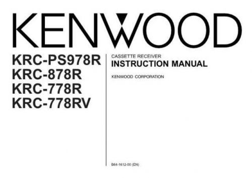 Kenwood KRC-778RV Operating Guide by download Mauritron #219401