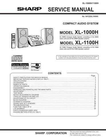 Sharp XL1000H-1100H (1) Service Manual by download Mauritron #207678