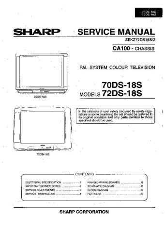 Sharp 70-72DS18S -DE Service Manual by download Mauritron #207900