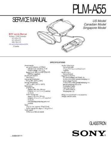 SONY PLMA55 Technical Info by download #104823