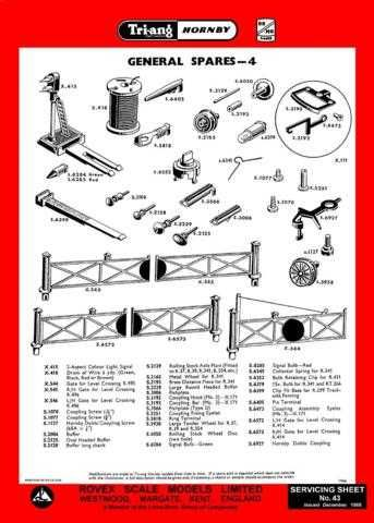 Triang Tri-ang No.043 General Spares 4 Service Sheets by download Mauritron #20