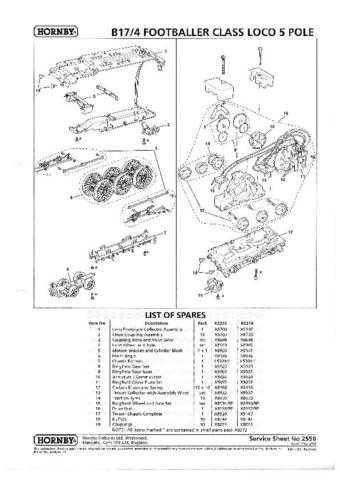 Hornby No.255B Class B17 4 Footballer Service Sheets by download Mauritron #207