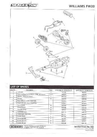 Scalextrix No.325 Williams FW20 Service Sheets by download Mauritron #206403