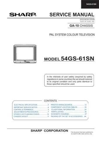 Sharp 54GS61S-SDE-SNL Service Manual by download Mauritron #207853
