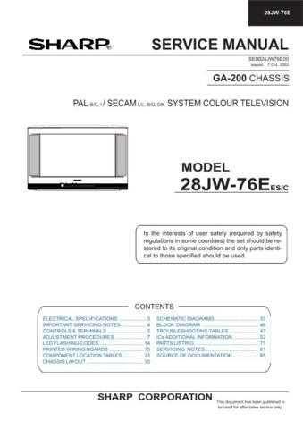 Sharp 28JW76E Service Manual by download Mauritron #207566