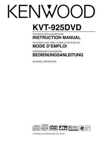 Kenwood KVT-925DVD Operating Guide by download Mauritron #222920