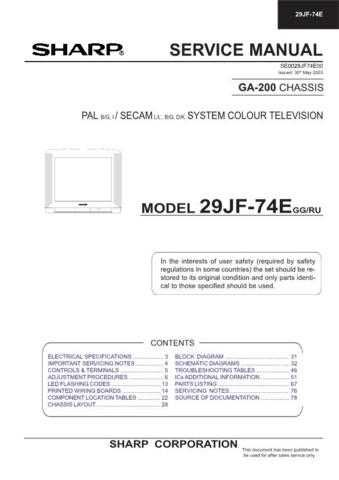 Sharp 29JF76E (1) Service Manual by download Mauritron #207614