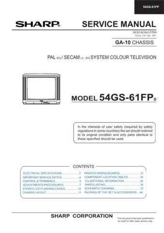 Sharp 54GS61FP-FPS (1) Service Manual by download Mauritron #207846