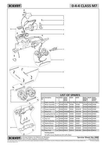 Hornby No.288E 0-4-4-Class M7 Service Sheets by download Mauritron #207074