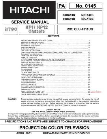 Hitachi 50GX30B Service Manual Schematics by download Mauritron #205826