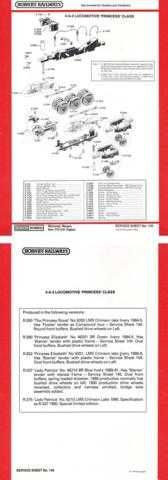 Hornby No.149 4-6-2 Princess Class Service Sheets by download Mauritron #206873